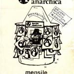 """Adesivo per la pubblicizzazione della diffusione di A-Rivista a Monfalcone nella seconda metà degli anni '80 da parte del Gruppo Anarco-Comunista """"Berkman"""""""